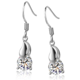 Exquisite 925 Sterling Silver Cubic Zirconia Drop Earring