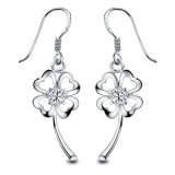 Exquisite Four Leaf Clover 925 Sterling Silver CZ Drop Earring