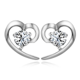 Exquisite Heart Shape CZ 925 Sterling Silver Stud Earring
