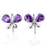Luxury Bowknot Shape Purple Crystal 925 Sterling Silver Drop Earring