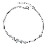 Luxury Exquisite Silver Crystal Link Bracelet
