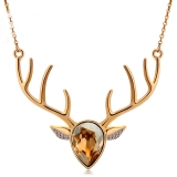 Fashionable Exquisite Antler Shape Austrian Crystal Pendant Necklace