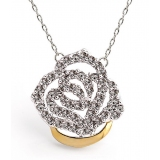 Luxury Silver Rose Zircon Gold Plated Alloy Pendant Necklace