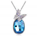 Fashionable Shiny Butterfly Blue/White Zircon Pendant Necklace