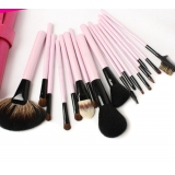 18 Pcs Rose-Handled Wool Makeup Brush Set