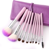 Professional 10 Pcs Brush Set With Purple Case