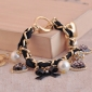 Fashion Retro Heart Leopard Rhinestone Pearl Charm Toggle Bracelet