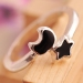 Exquisite Black Star Moon Silver Band Ring