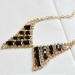 Vintage Black/white Gemstone False collar Choker Necklace