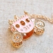 Vintage Light Pink Bling Rhinestone Pumpkin Shape Pendant Necklace