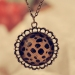 Vintage Leopard Circle Crystal Chain Pendant Necklace