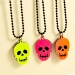 Fashion Skull Punk Fluorescence Color Long Chain Necklace