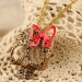 Skull Pink Bowknot Gold Plated Alloy Chain Necklace