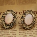 Vintage Style Hallowed Lace Edge Gemstone Pink Drop Earrings