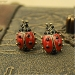 Vintage Jewelry Lovely Red Beetles Resin Stud Earrings