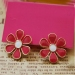 Vintage Simple Red Flower Stud Earrings for Girls
