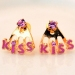 "Korea Style Fashion ""Kiss"" Letter Rhinestone Stud Earring"