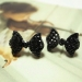 Fashion Black Bowknot Rhinestone Stud Earring