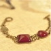 Vintage Red Stone Owl Charm Bracelet