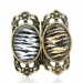 Zebra-stripe Large Natural Stone Cocktail Ring