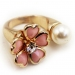 Fashion Pink Flower Rhinestone Rings