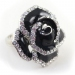 Fashion Black Rose Diamond Flower Ring