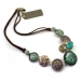 Ceramic Pendant Leather Chain Necklace