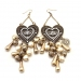 Vintage Rhinestone Heart-shaped Tassel Drop Dangle Earrings