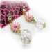 Bold Fishion Pink Flower Rhinestone Dangle Earrings