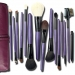 15 Pcs Natural Wool Purple Handle Brush Set